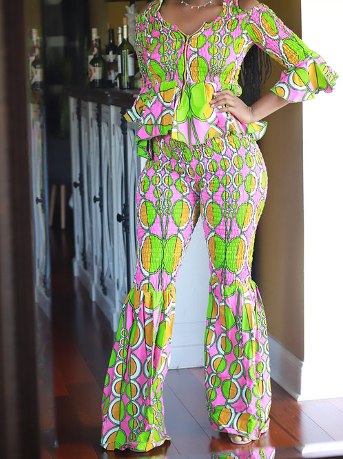 Pink & Green African Outfit