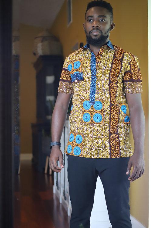"""""""Osei"""" African Print Button Up"""