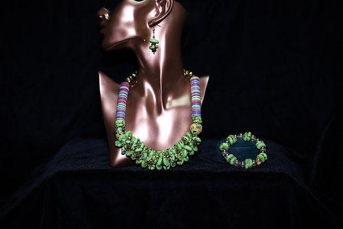 Green and Blue Krobo Necklace & Bracelet
