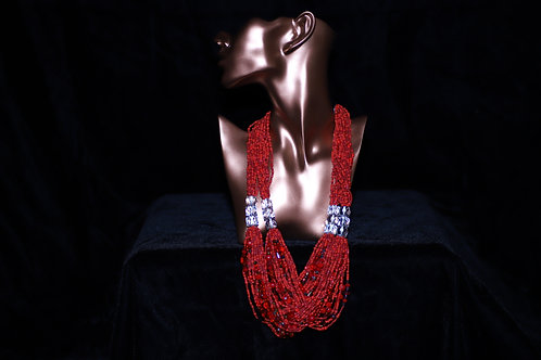 Red Ghana Glass Beads Necklace
