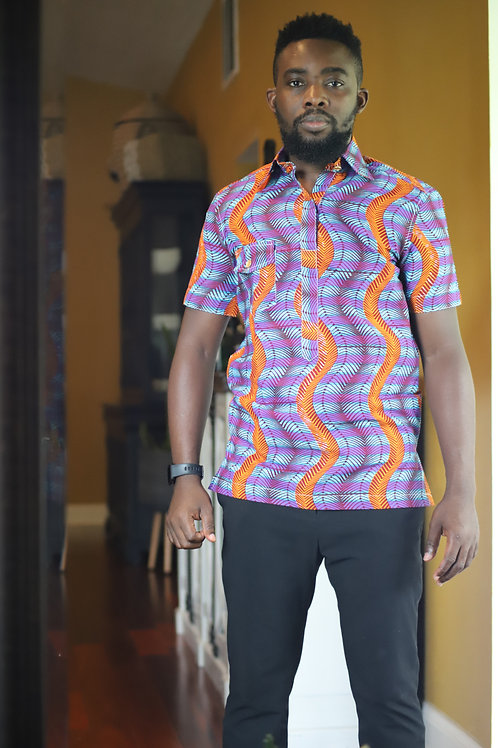 """""""Legon"""" African Print Button Up"""