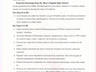 Important Notice Regarding Online Classes