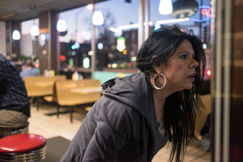6:05 p.m. Vickie is off from her opening shift but returns to spend time on the other side of the counter. Despite the restaurant's new digital jukebox costing one dollar for two song credits, she plays several tunes before leaving for the day around 10 p.m.