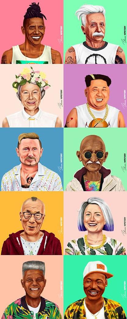Serie de ilustraciones del artista israelí, Amit Shimoni. En esta imagen se ecuentran personajes de la historia moderna en una versión hipster: Obama, Einstein, Queen Elizabeth, Kim Jong-un, Putin, Gandhi, Dalai Lama, Hilary Clinton, Mandela y Martin Luther King