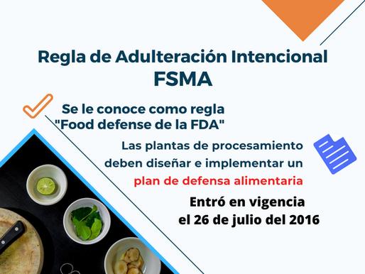 Regla de adulteración intencional de FSMA - 21 CFR 121