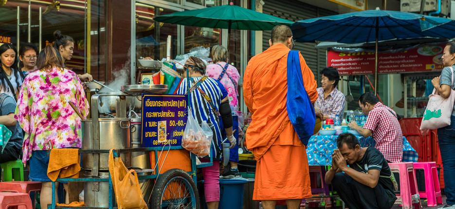 Worshipping a monk at Chinatown, Bangkok