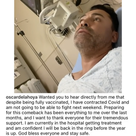 Fully vaccinated Oscar De La Hoya hospitalized with COVID-19