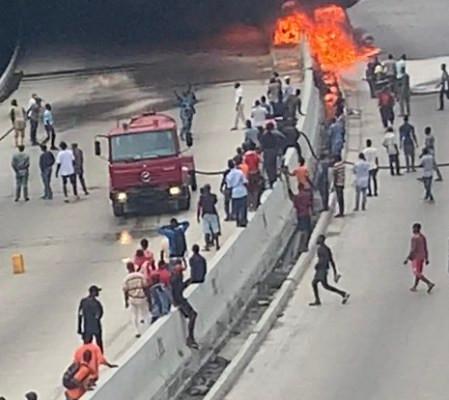 Gasoline Tanker Explodes At Oshodi-Apapa Express Way, Lagos