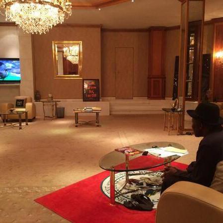 Nigerian President Goodluck Jonathan Watching FIFA 2014 As Nigeria Beat Bosnia