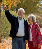 Senior couple enjoying a walk