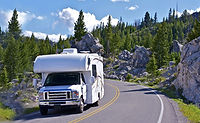 RV traveling in mountains