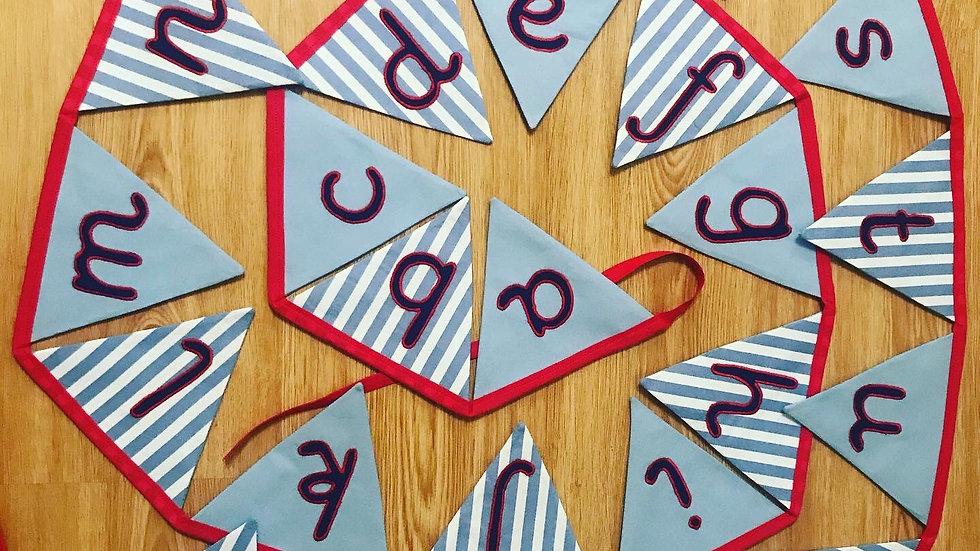 Cursive Font Alphabet Bunting