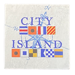 "Marble Nautical Flag Coaster 4""Square"