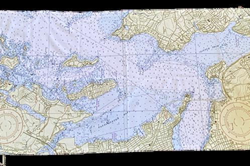 City island Nautical Chart Beach Towel