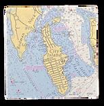 "Marble City Island Chart Coaster 4""Square"
