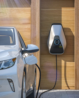 electric vehicle of the future using smart electric car charging station at home frontal p