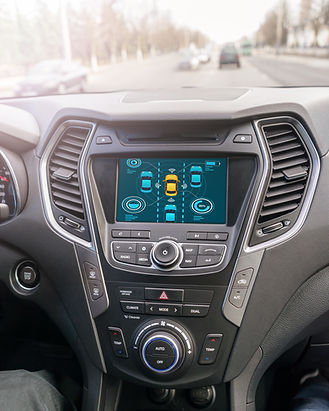 Inside view of self driving car on the road