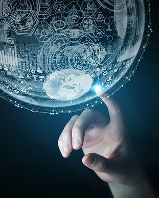 person touching hologram sphere 3D rende