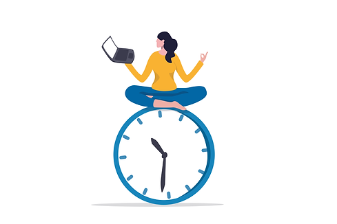young lady woman working with laptop while doing yoga or meditation on clock face