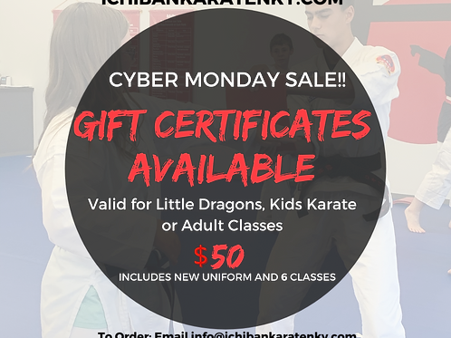Cyber Monday Gift Certificate Sale!