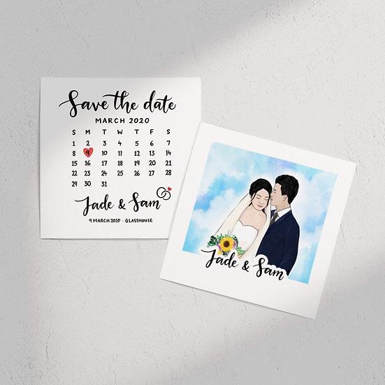 Save The Date Couple Portrait Invite