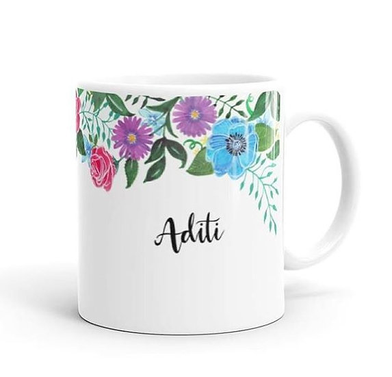 personalised flower name mug