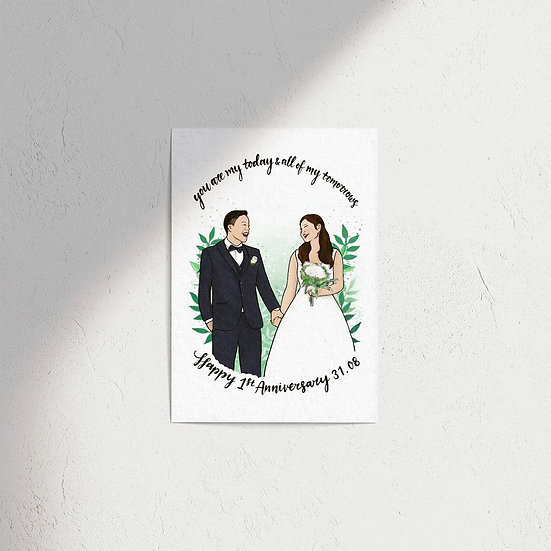 Wedding Couple Portrait Illustration