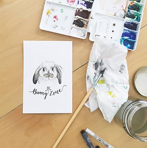 Painting flurry bunnies in watercolor to