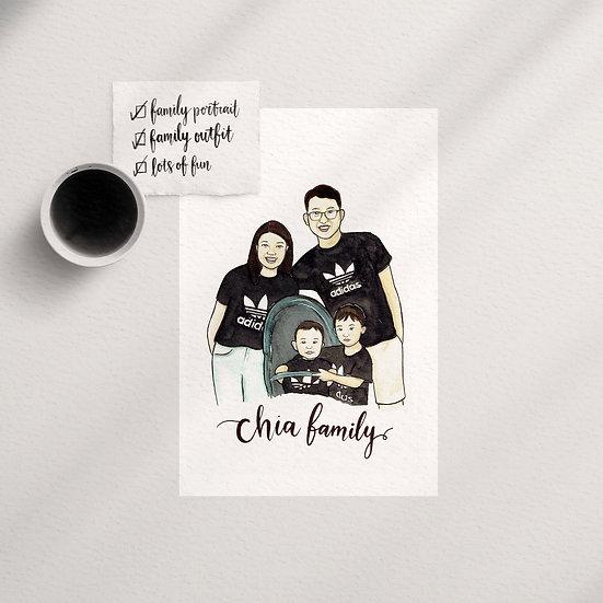 Family/Group Watercolor Portrait Illustration