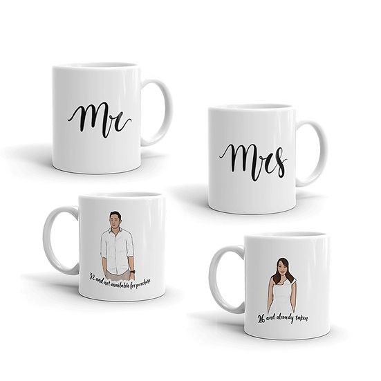 Mr & Mrs Couple Portrait Mug Set