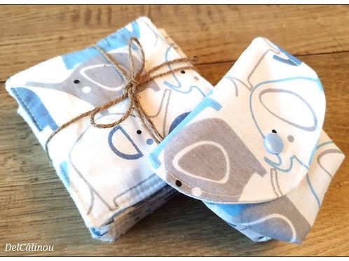 10 Lingettes + Pochette à savon Bleu / Elephant