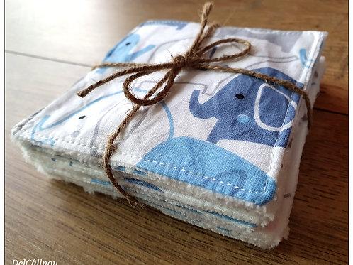 10 Lingettes lavables Bleues / Elephants