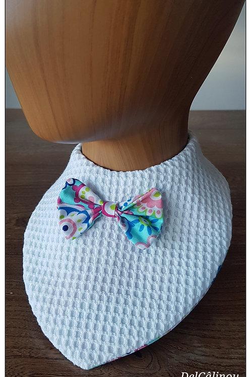 Bavoir bandana Blanc Rosaces colorées