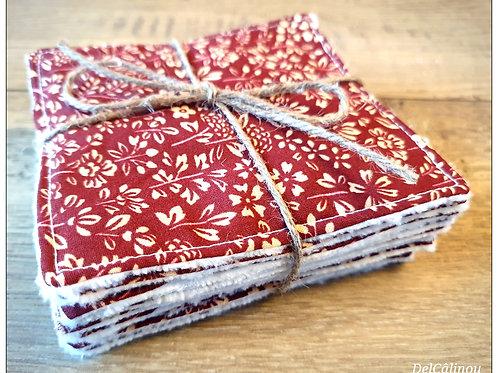 10 Lingettes lavables Rouge / Liberty
