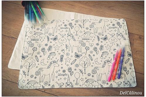 """Set de table lavable, à colorier """"Licornes"""""""