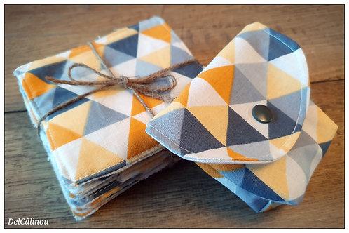 10 Lingettes + Pochette à savon Jaune / Triangles
