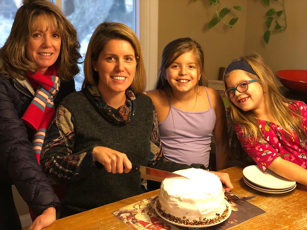 Three generations enjoying lady baltimore cake