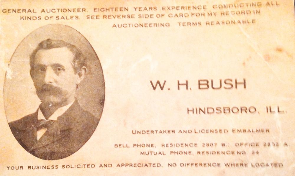 W. H. Bush's Business Card from Hindsboro, IL circa 1912.