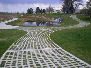 grass paver along detention pond