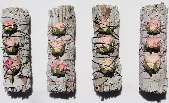 White Sage & Rose Buds Smudge Stick