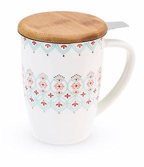 Bailey Arabesque Ceramic Tea Mug & Infuser