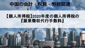 【個人所得税】2020年度の個人所得税の『源泉徴収代行手数料』(還付)