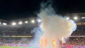ラグビーW杯の表彰式で豊橋市の手筒花火が放揚されました!