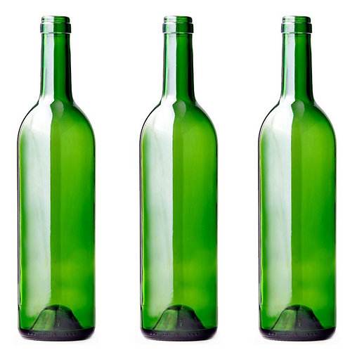 12 Green Glass Bottles 750ml