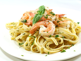 Shrimp Pasta + White Wine Sauce