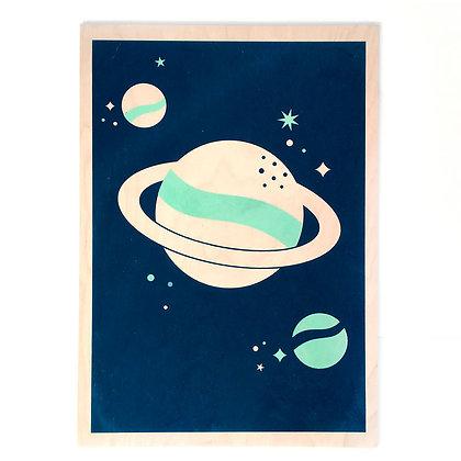 Houten Poster met speelse planeet print