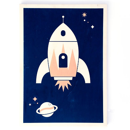 Houten poster met raket print