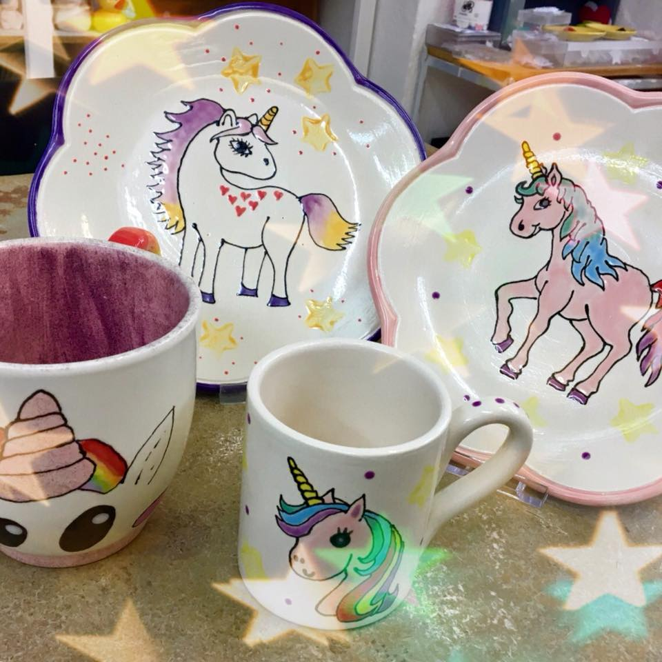 unicorn plates and mugs