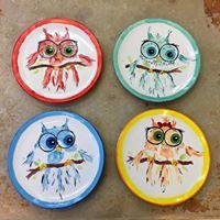 owl handprint on 4 sm plates
