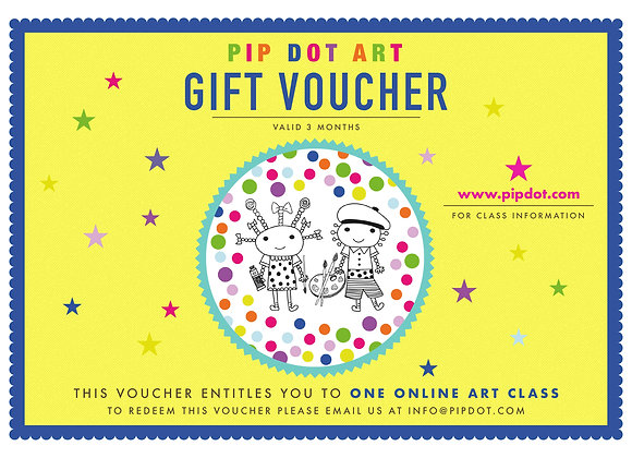 Online Children's Art Class Gift Voucher: One session